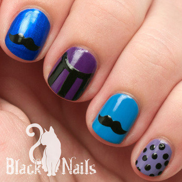 Movember Mustache Skittle MANicure nail art by Black Cat Nails