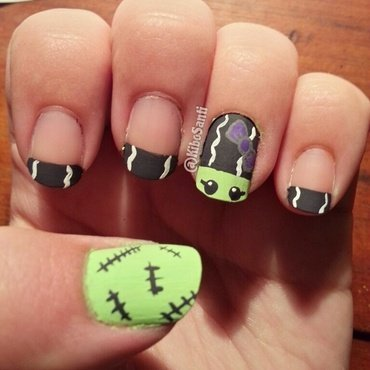 October challenge day 8 Creepy to Cute nail art by KiboSanti