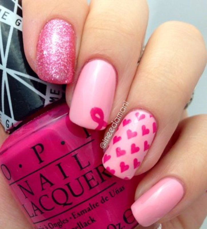 Pink Ribbon Pink Hearts nail art by Carmen Ineedamani