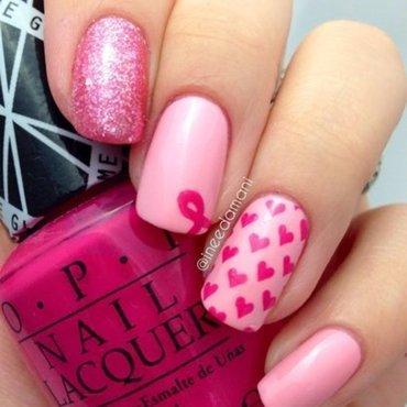 Pink Ribbon Pink Hearts nail art by Carmen Ineedamani