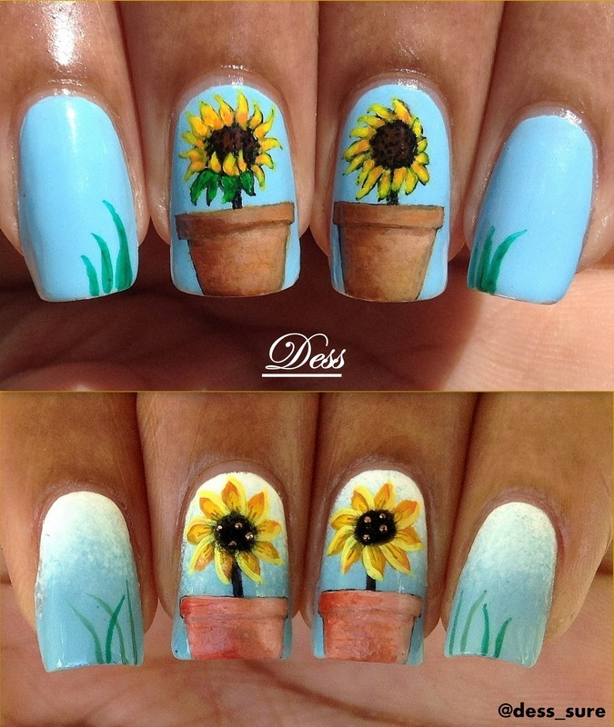 Pots and plants nail art by Dess_sure