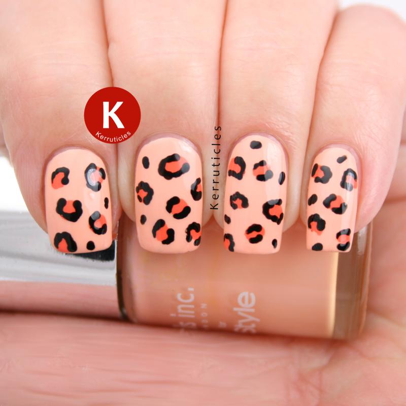 Peach leopard print nail art by Claire Kerr