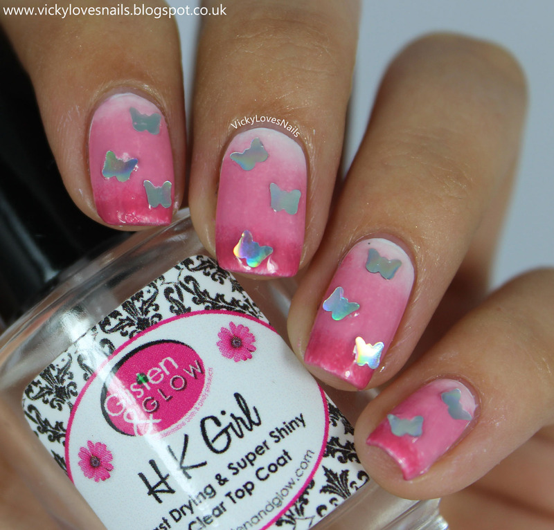 Pink Gradient with Butterfly Glitters nail art by Vicky Standage