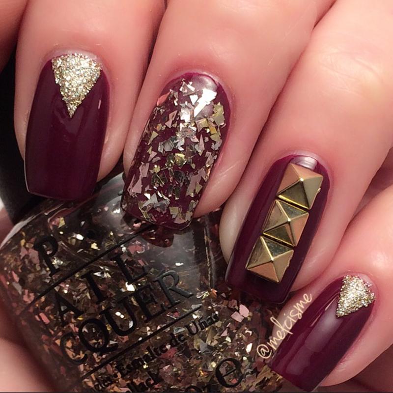 Fall bling nail art by Melissa
