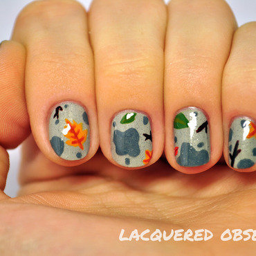 Rainy days and wet pavements nail art by Lacquered Obsession