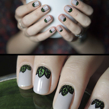 Leaves nail art by Magdalena