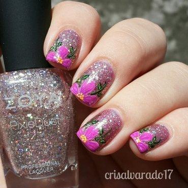 Tip flower nail art by Cristina Alvarado