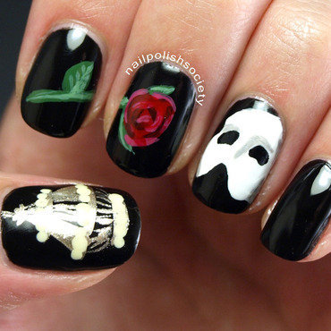 Phantom of the Opera nail art by Emiline Harris