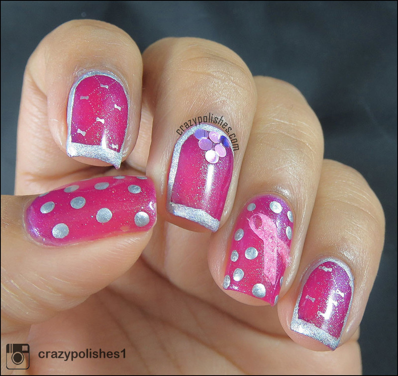 Breast Cancer Awareness Nail art- Pink Friday- 2 nail art by CrazyPolishes (Dimpal)