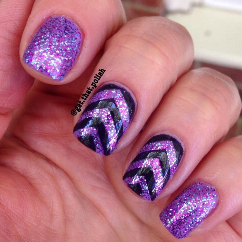 Chevron Sparkles nail art by Luciana