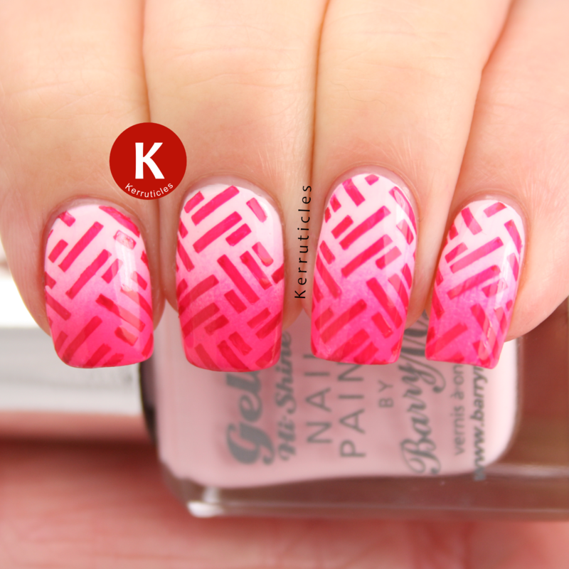 Pink gradient stamped nails nail art by Claire Kerr