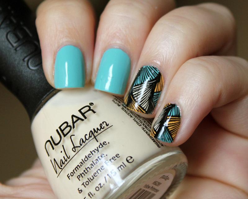 Wavy Triangles nail art by Moriesnailart