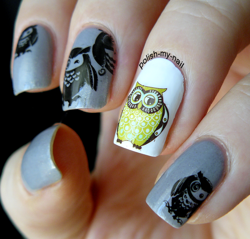 Happy Owls nail art by Ewlyn