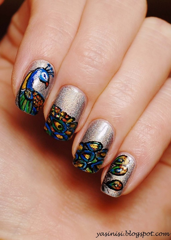 Peacock nail art by Yasinisi