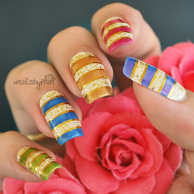 Glitter Stripes nail art by xNailsByMiri