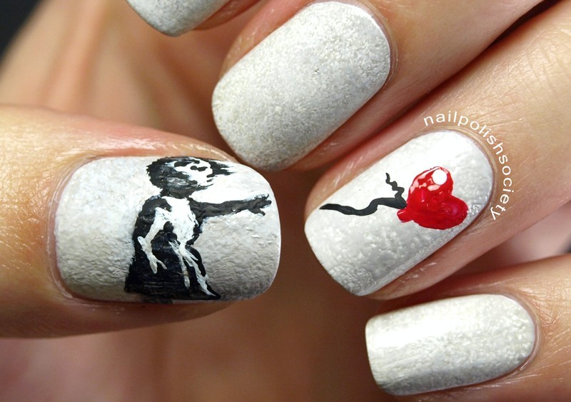 Banksy Girl With Balloon nail art by Emiline Harris