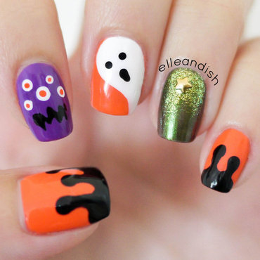No Nail Tools! Halloween Nails nail art by elleandish