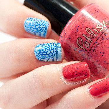 Red and blue paisley stamping combination nail art by Zara TracesOfPolish