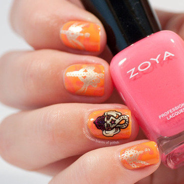 Double stamping orange pink for India's independence day nail art by Zara TracesOfPolish