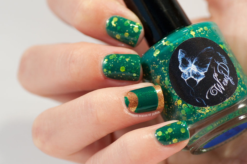 Green Glitter With French Halfmoon Accent Nail Nail Art By Zara