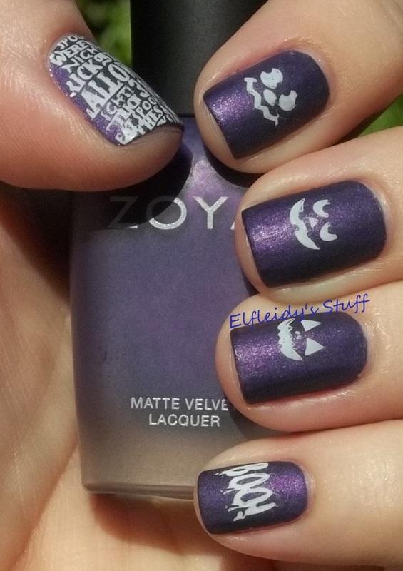 Purple pumpkins nail art by Jenette Maitland-Tomblin