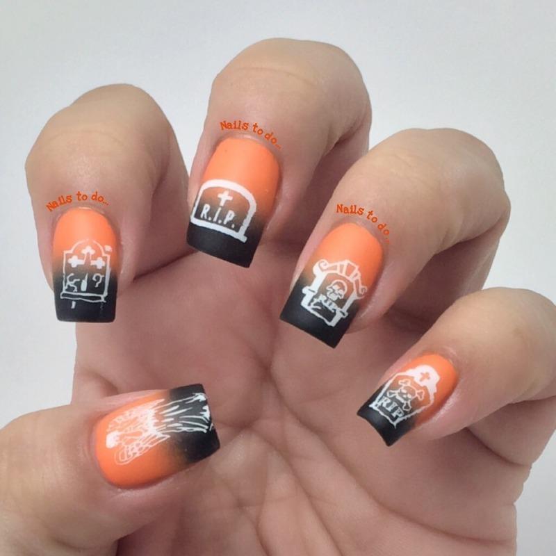 Halloween ombre nail art by Jenny Hernandez
