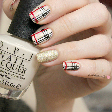 Burberry Inspired nail art by Jen from polished-with-love