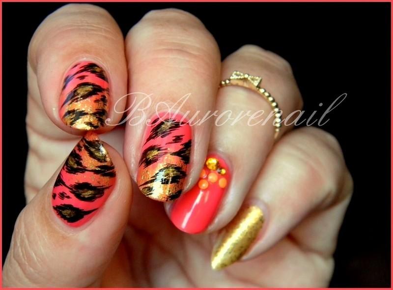 nail art panthère nail art by BAurorenail