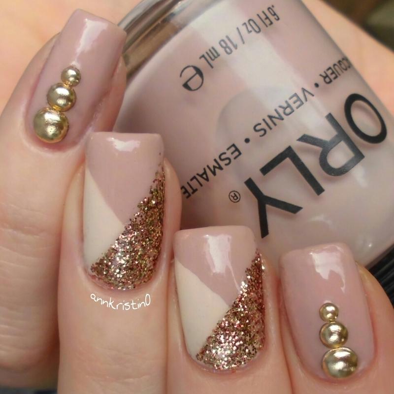Studded Gold Mani nail art by Ann-Kristin