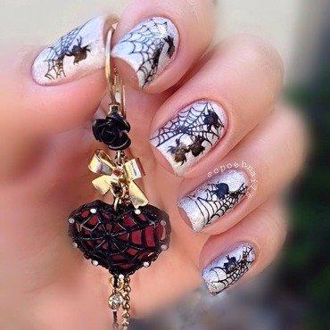Halloween Spiders nail art by Debbie