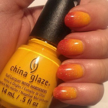 Sunrise Ombre nail art by Steph