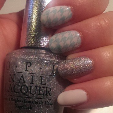 Blue Houndstooth Mix & Match nail art by Steph
