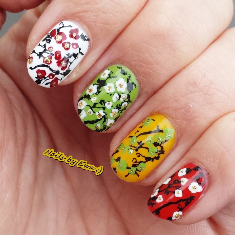 Colorful cherry flowers :) nail art by Ewa