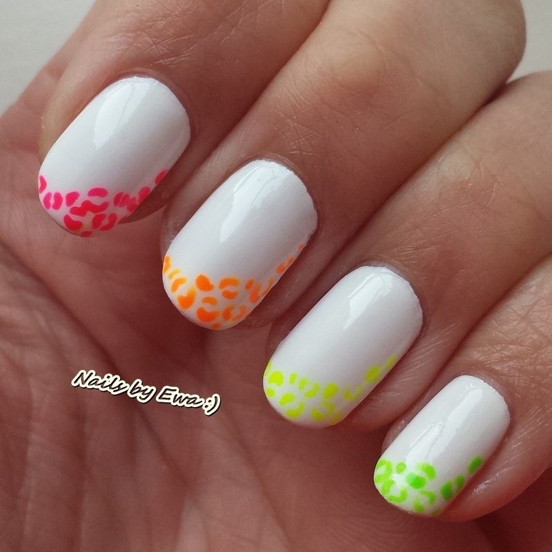 Neon leopard print  nail art by Ewa