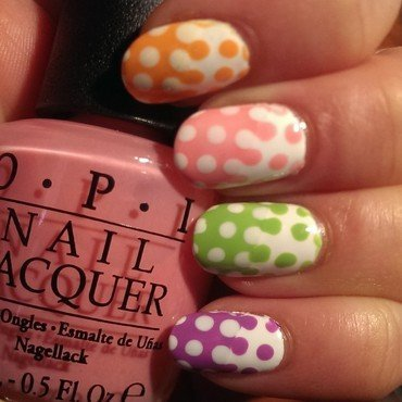 Easter Dots nail art by Steph
