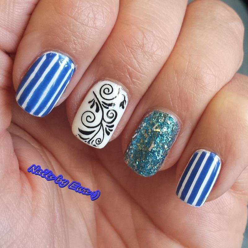 Greek nails nail art by Ewa