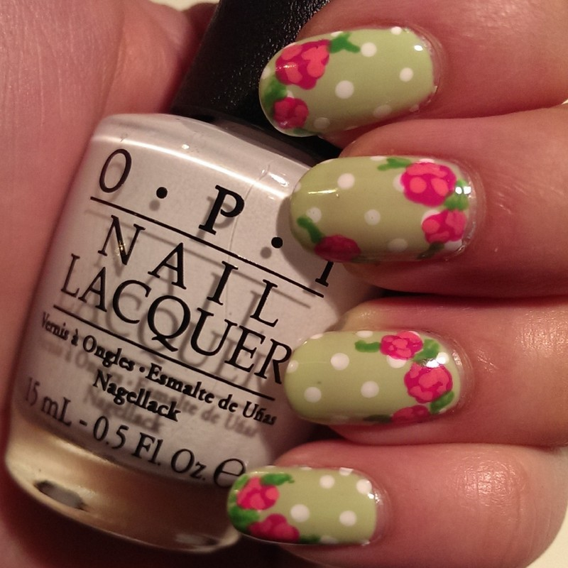 Vintage Polkadots and Flowers nail art by Steph