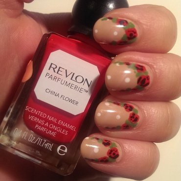 Red Rose Ruffian nail art by Steph