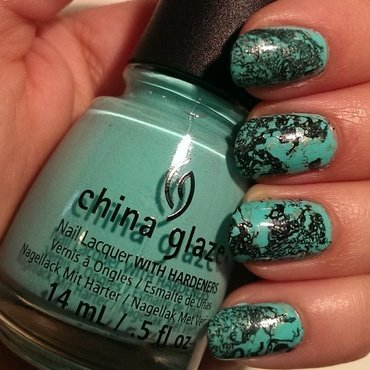 Turquoise Stone Nails nail art by Steph