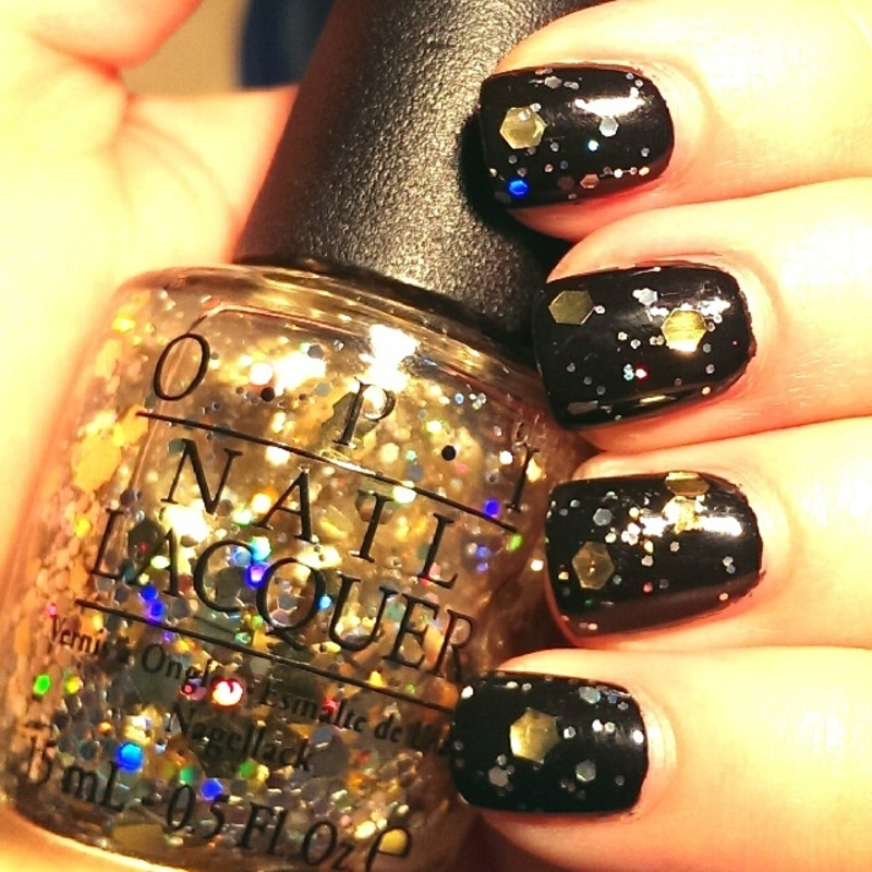 OPI Black Onyx and OPI I Reached My Gold Swatch by Steph - Nailpolis ...