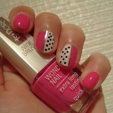 Pink and Monochrome nail art by Lina-Elvira