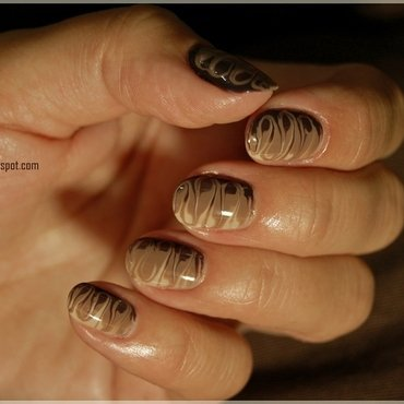 Chocolate marble nail art by Oana Chiciu