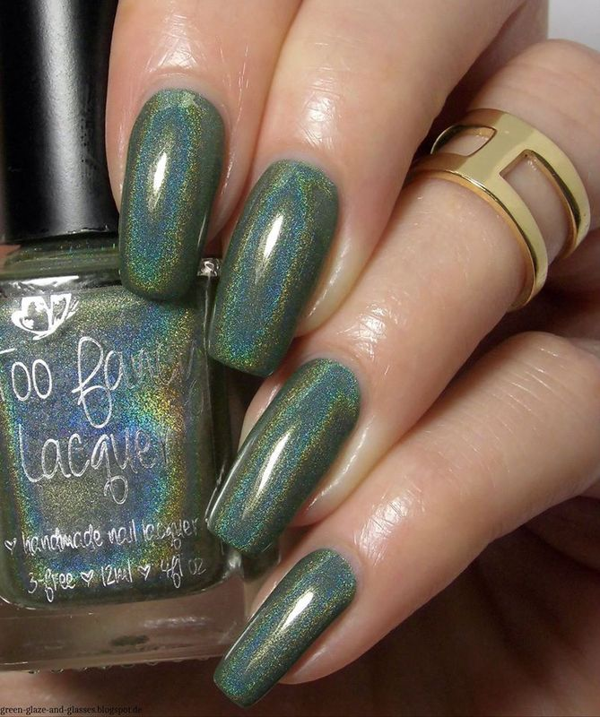 Too Fancy Lacquer Hold Out The Olive Branch Swatch by greeench