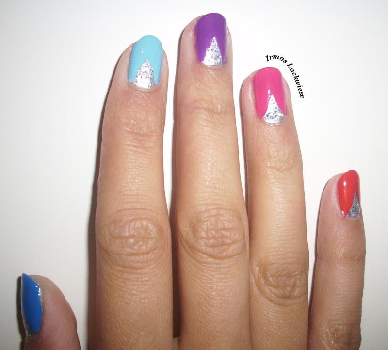 rainbow triangles nail art by irma
