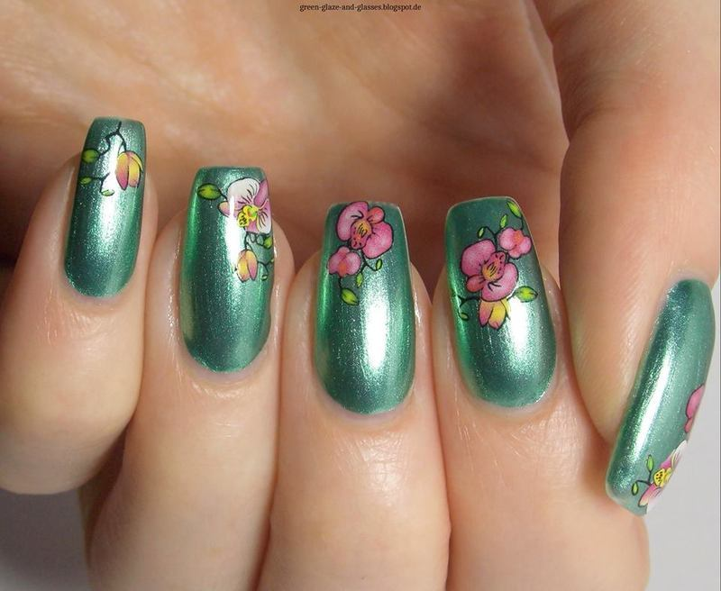 Floral Water Decals nail art by greeench