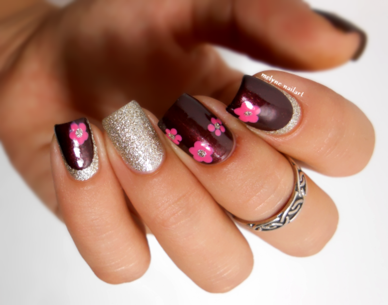 Flowers and Ruffian nail art by melyne nailart