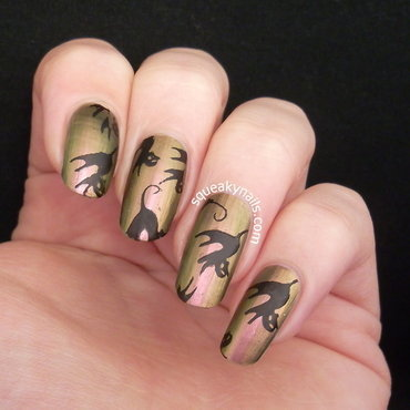 Black Cats nail art by Squeaky  Nails