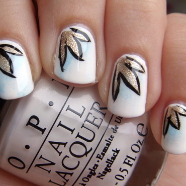 Leaves in the snow. nail art by Elin The Cupcake Cat