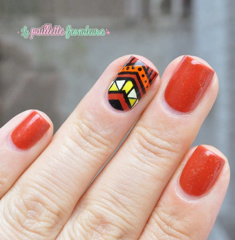 tribal print in fall colors nail art by nathalie ...