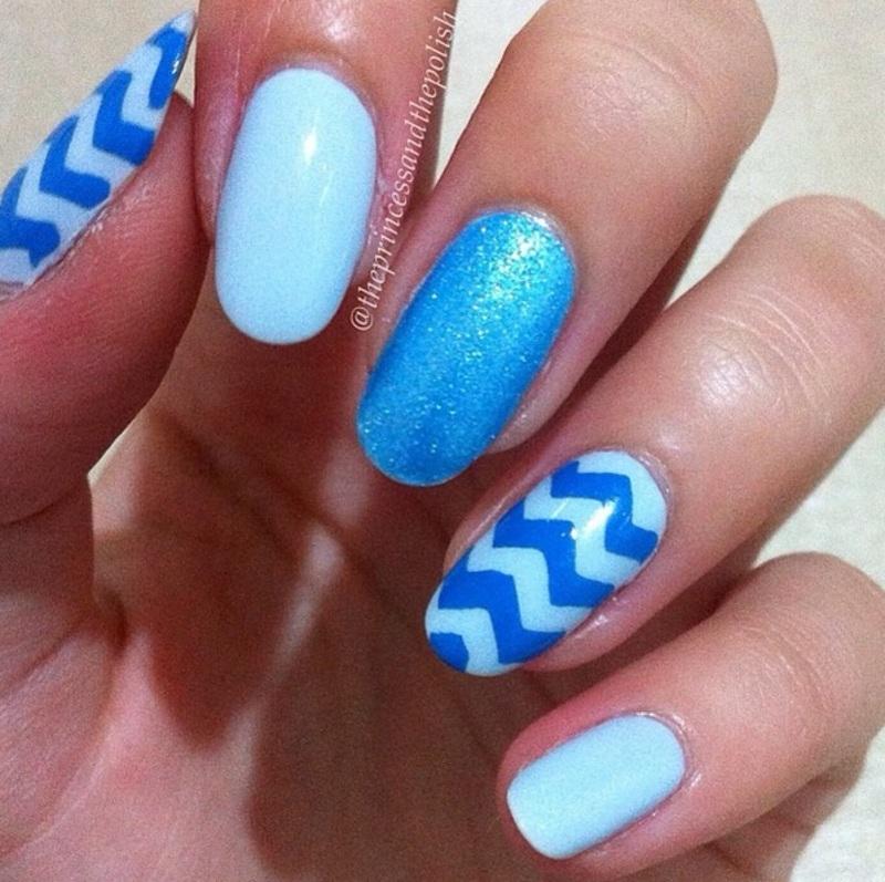 Blue Chevrons nail art by Alexandra